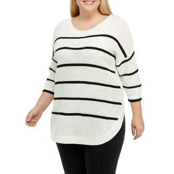 Dex Women's Plus Size Striped Crew Neck Sweater - -