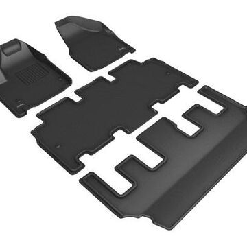 2018 Chrysler Pacifica 3D Maxpider Kagu Floor Mats, Front, 2nd, and 3rd Row Floor Mats in Black