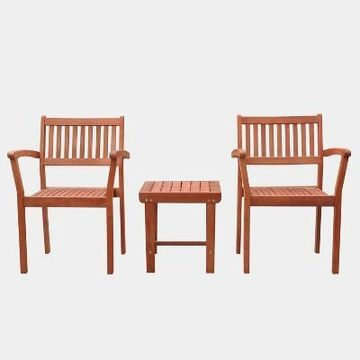 Malibu Outdoor Patio 3pc Wood Dining Set with Stacking Chair