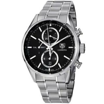 Tag Heuer Men's CAR2110.BA0724 'Carrera' Black Dial Stainless Steel Chronograph Watch