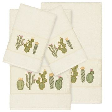 Authentic Hotel and Spa Turkish Cotton Cactus Embroidered Cream 4-piece Towel Set
