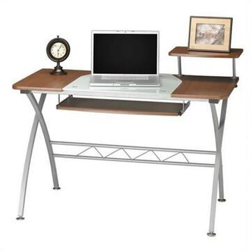 Safco Vision Wood Top Computer Desk-Anthracite in Brown- Mayline
