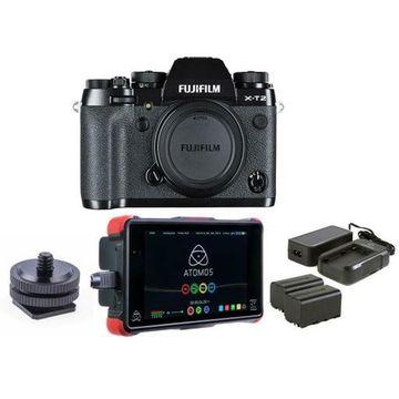 ''Fujifilm X-T2 Mirrorless Body, Black With Atomos Ninja Flame 7'''' Monitor Bundle''