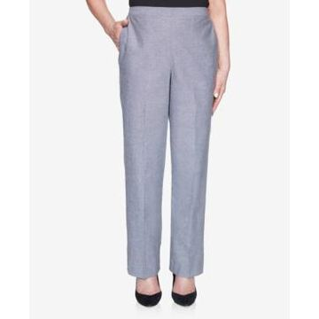 Alfred Dunner Plus Size Pull On Back Elastic Chambray Proportioned Short Pant