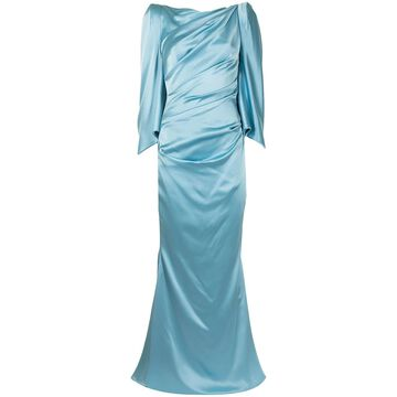 draped-back satin gown