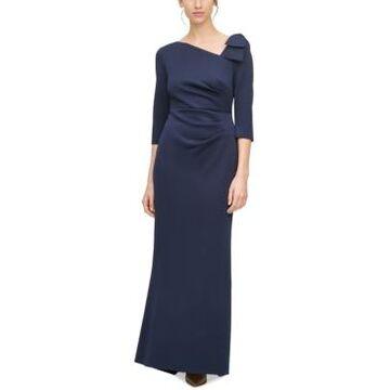 Jessica Howard Petite Asymmetrical-Neck Gown