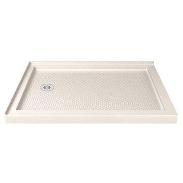 DreamLine SlimLine 36 in. D x 54 in. W x 2 3/4 in. H Left Drain Double Threshold Shower Base in Biscuit