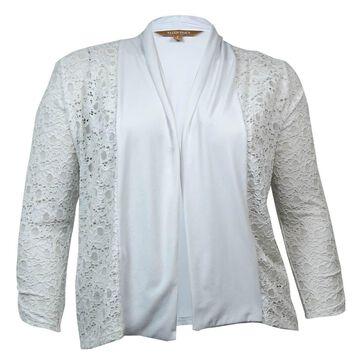 Ellen Tracy Women's Illusion Lace Jersey Top - Pearl - L