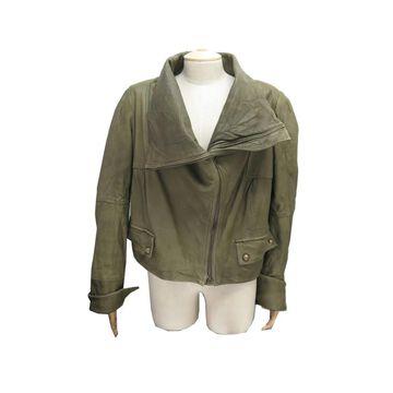 Kenzo Khaki Leather Jackets