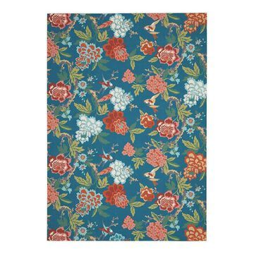 Waverly by Nourison Sun N Shade Garden Indoor Outdoor Rug, Blue, 8X11 Ft