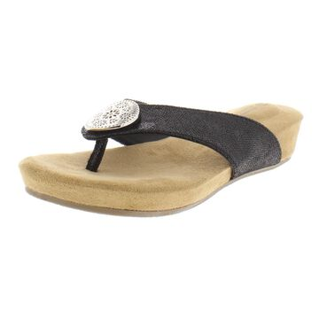 Giani Bernini Womens Rosahle Faux Leather Metallic Wedge Sandals