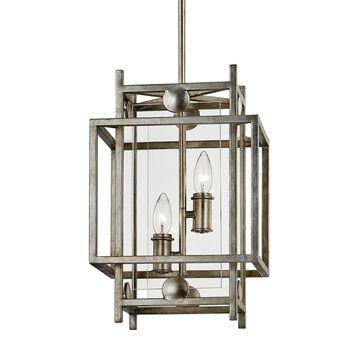 Troy Lighting Crosby Antique Silver Leaf Modern/Contemporary Clear Glass Geometric Medium (10-22-in) Pendant Light | F7132