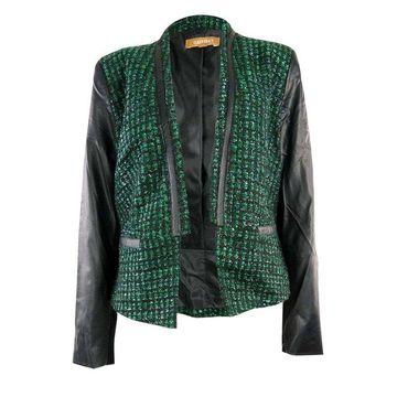 Ellen Tracy Women's Faux Leather Trim Tweed Jacket