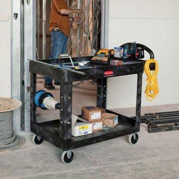 RUBBERMAID FG452088BLA Structural Foam Utility Cart with Deep Lipped Plastic Shelves, Ergonomic, 2 Shelves, 500 lb