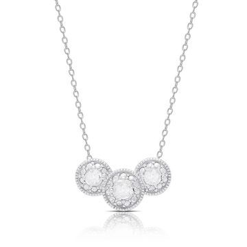 Finesque Sterling Silver .45ct TDW Diamond Three Stone Necklace (OSN1123-RP)