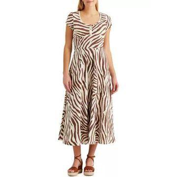 Chaps Women's Zebra Print Midi Sundress -
