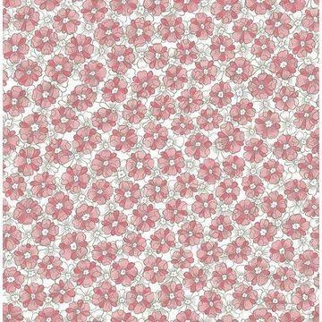 Brewster 2657-22225 Allison Pink Floral Wallpaper