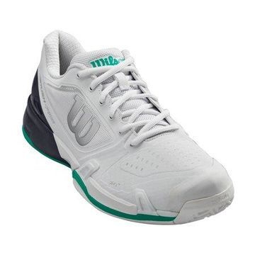 Wilson Men's Rush Pro 2.5 Tennis Shoe, White/Ebony/Deep Green