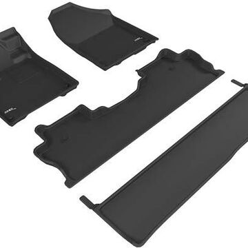 3D Maxpider Kagu Floor Mats, Front and 2nd Row Set with 2nd Row Under-Seat Floor Mat in Black