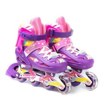 TITAN Flower Princess Girls Inline Skates with Light-Up LED Laces and Wheel, Youth Size Small