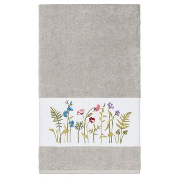 Authentic Hotel and Spa Grey Turkish Cotton Wildflowers Embroidered Bath Towel