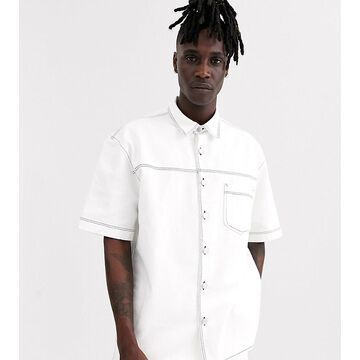 Noak denim shirt in ecru with contrast stitch-White
