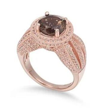 Suzy Levian Sterling Silver 4.37 cttw Smoky Quartz Ring - Brown