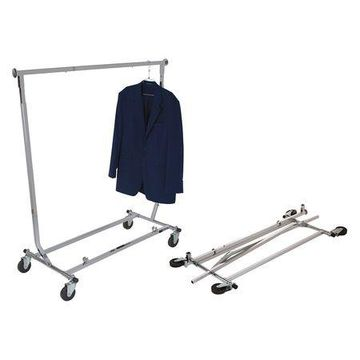 Econoco - RCW/4 - Chrome Collapsible Square Tubing Rolling Clothing Rack