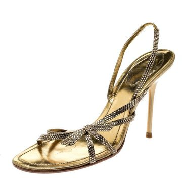 Rene Caovilla Metallic Gold Crystal Embellished Leather Open Toe Slingback Sandals Size 37