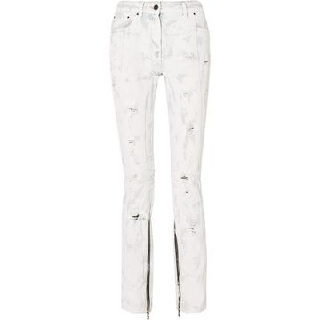 Palm Angels - Distressed Painted Mid-rise Jeans - White