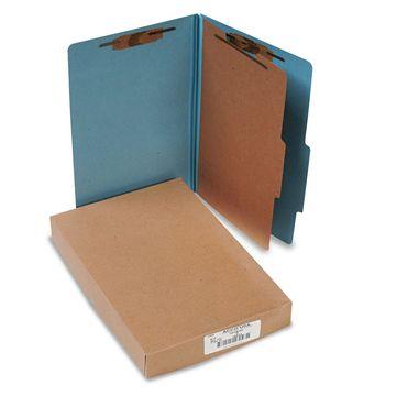 Acco Pressboard 25-Pt Classification Folders Legal 4-Section Sky Blue 10/Box