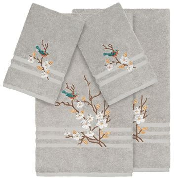 Authentic Hotel and Spa Turkish Cotton Blue Bird Embroidered Light Grey 4-piece Towel Set