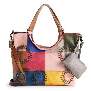 AmeriLeather Donovan Leather Tote Bag, Multicolor