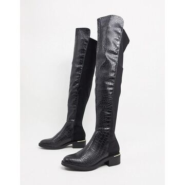 Truffle Collection over the knee boots in black croc
