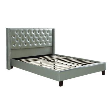 Faux Leather Upholstered Bed Silver - Benzara