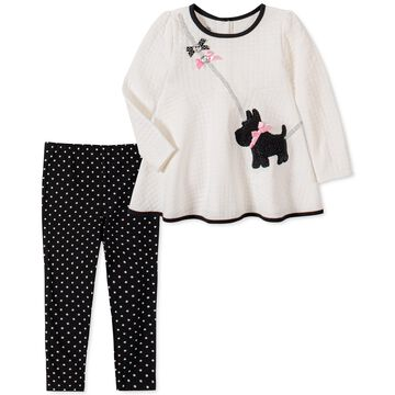 Little Girls 2-Pc. Quilted Dog Top & Printed Leggings Set