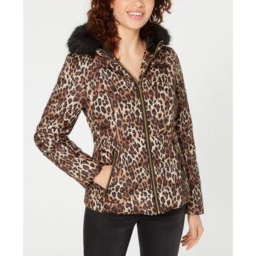 Juniors' Leopard-Print Puffer Coat with Faux Fur Trim Hood