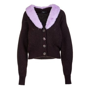 Blumarine Dark Brown Wool Cardigan With Wisteria Eco-fur