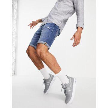 Jack & Jones Intelligence denim shorts in slim fit mid blue