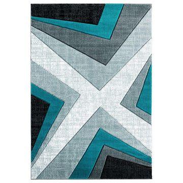 United Weavers Bristol Collection Zine Geometric Rug, Blue, 2X3 Ft