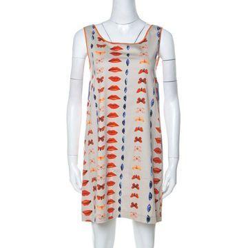 Philosophy di Alberta Ferretti Beige Multicolor Printed Cotton Sleeveless Shift Dress M