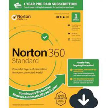 Norton 360 Standard for 1 Device, Windows/Mac/Android/iOS, Download (21390614) | Quill