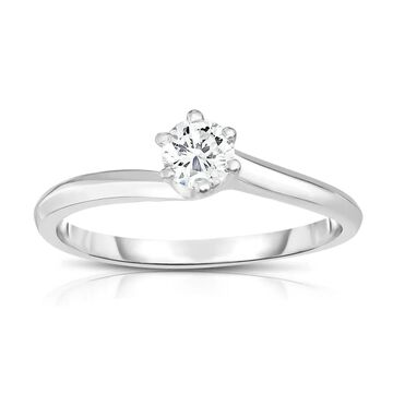 Noray Designs 14K Gold Diamond (0.25 Ct, SI2-I1 Clarity, G-H Color) 6-Prong Solitaire Ring - White G-H - White G-H (8.5 - Yellow)