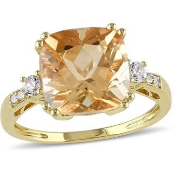 3-3/4 Carat T.G.W. Citrine and Created White Sapphire with Diamond-Accent 10kt Yellow Gold Cocktail Ring