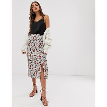 Y.A.S floral midi skirt with split