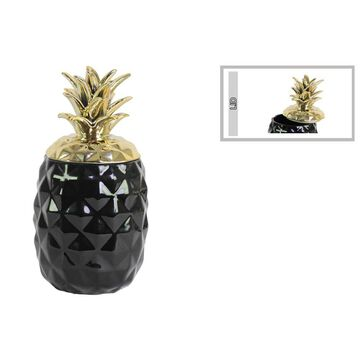 Tropical Pineapple Canister with Gold Lid- Black- Benzara