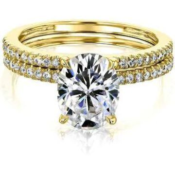 Annello by Kobelli 14k Gold 2.1ct TGW Moissanite and Lab Diamond Bridal Set (HI/VS, DEF/VS)
