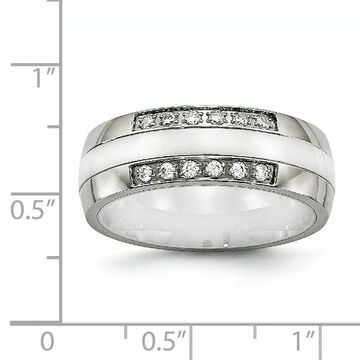 Chisel Stainless Steel Polished White Ceramic Cubic Zirconia Ring (9)