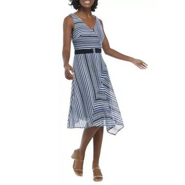 Gabby Skye Women's Sleeveless Belted V-Neck Striped Dress - -