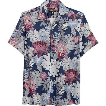 Pronto Uomo Men's Navy Floral and Leaf Classic Fit Short Sleeve Sport Shirt - Size: Large - Only Available at Men's Wearhouse